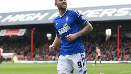 Daryl Murphy celebrates scoringhis second at Brentford on Boxing Day