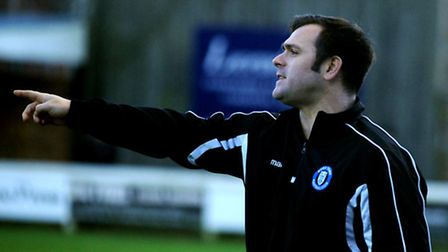 New Bury Town assistant manager Christian Appleford makes his point from the touchline