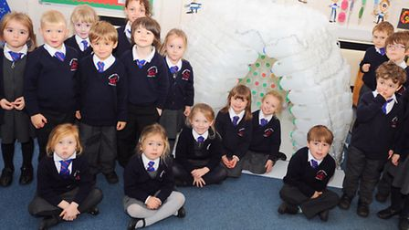 Joseph's Primary School kids have made an igloo out of milk bottles.
