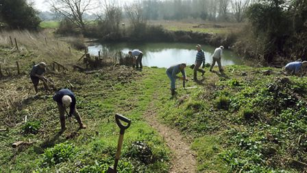 Long Melford Open Spaces group volunteers at work in the country park