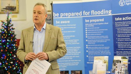 Cllr Tim Beach talking at the launch of the Snape village emergency flood plan.