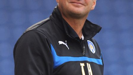 A smiling Colchester United boss, Tony Humes