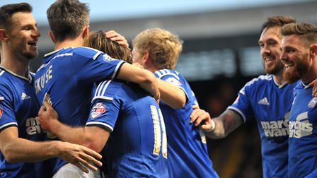 Ipswich Town v Middlesborough. Sky Bet Championship. Town celebrate as Jay Tabb scores taking them