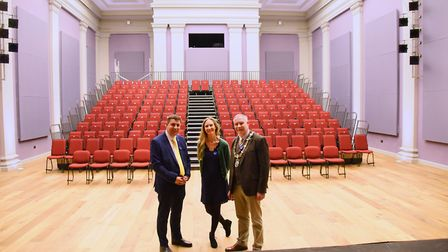 Angela Sykes, Corn Hall director, with former Diss town mayor, Mike Bardwell, right, and Graham Mins
