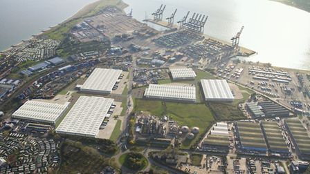 A computer-generated image of how the new 68-acre logistics park at the Port of Felixstowe will look