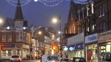 Harwich High Street is lit up for Christmas.