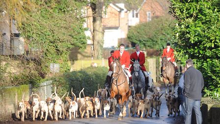 Hundreds of people gathered to watch the Hadleigh Boxing Day Hunt last year