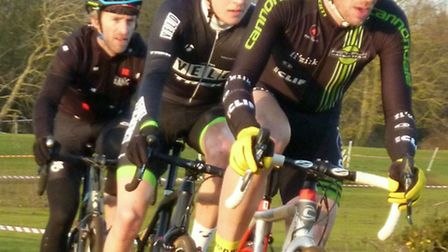 The senior leaders at the Broom Heath Cyclo-cross from the front: Stephen James, Sean Dunlea and Mat