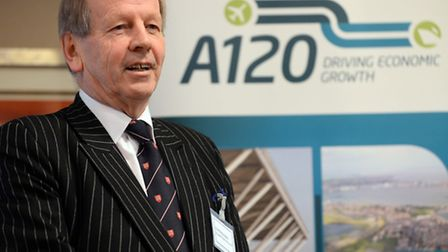 Cllr Rodney Bass making his announcement at the A120 event organised by the Haven Gateway Partnershi