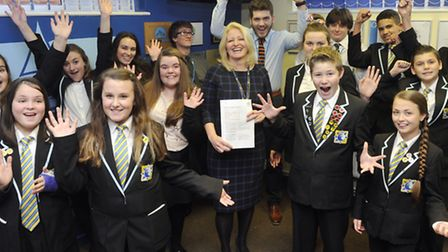 Pupils and head teacher Tracey Hemming at Clacton Coastal Academy celebrate achieving their first go