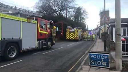 Denmark Street, Diss, remains closed due to an ongoing incident. Photo: Harriet Orrell
