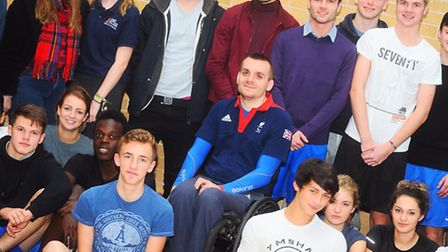 Paralympian rugby star Andy Barrow is visiting students at West Suffolk College.