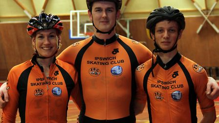 Ipswich Skating Club's Emilie Wix, Tom Fell and Josh Coleman who have been selected for a GB trainin