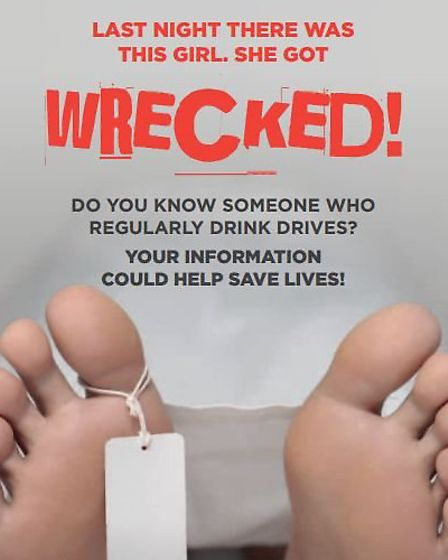 Part of a Crimestoppers anti-drink drive campaign poster