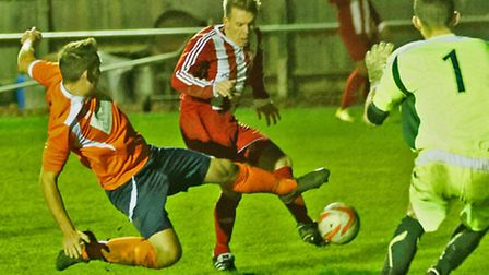 Danny Bloomfield fires home Felixstowe's fourth goal on Saturday