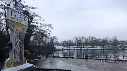 Diss Mere in the Snow. Picture: Harriet Orrell