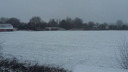 A snow covered playing field at Palgrave Community Centre near Diss. Picture: Liz Cater