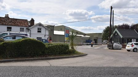 The entrance to the Crown Chicken site in Weybread, for where an application to build 110 new homes