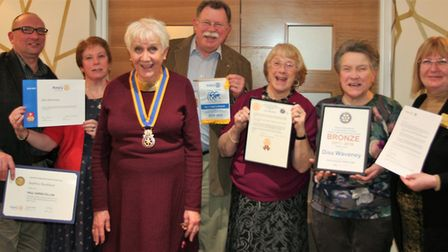 Members of Diss Waveney Rotarians with their recent awards from Rotary International. Picture:Elaine