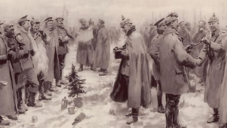 An Illustrated London News interpretation of the events of Christmas, 1914 - 'British and German Sol