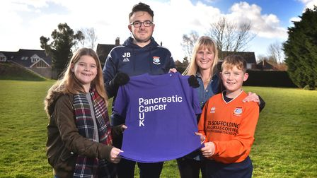 James Bloomfield who is doing a charity run in memory of Tom Ship. James pictured with Tom's family,