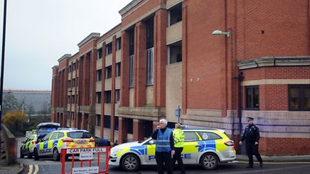 Emergency services at the multi-storey car park in Bury on Friday after a woman fell.