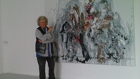 Maggi Hambling with one of her large Wall of Water paintings, which forms parts of her new exhibitio