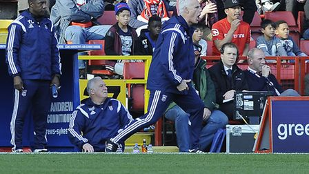 Mick McCarthy urges his players on at Charlton