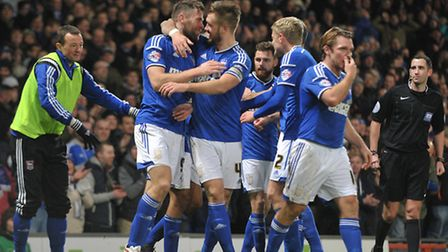 Ipswich FC V Charlton Athletic. Sky Bet Championship. Daryl Murphy scores for Town taking the scor