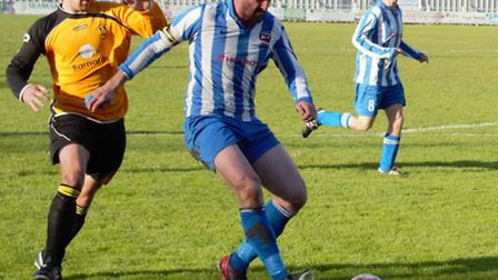 Tom Bradlaugh, left, has been a good signing for Stowmarket