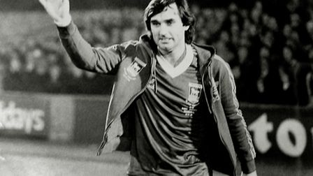 George Best turns out for Ipswich Town at Portman Road in November 1979 in Bobby Robson's Testimonia