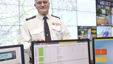 Senior Divisional Officer Paul Hill stands in the new emergency control room at Kelvedon Park.