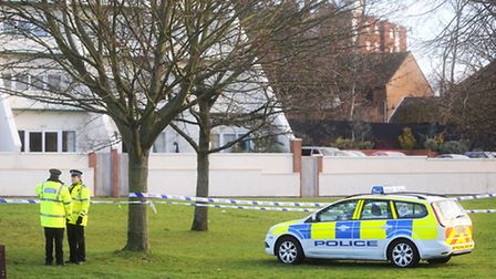 Parts of the playing field next to Rowley Drive, Newmarket, which were cordoned off after a reported
