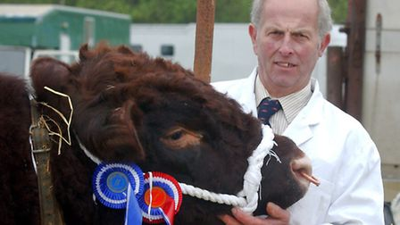 EADT NEWS. David Ball with Stantion Esq ,the British Breed champion at the South Suffolk Show. PIC