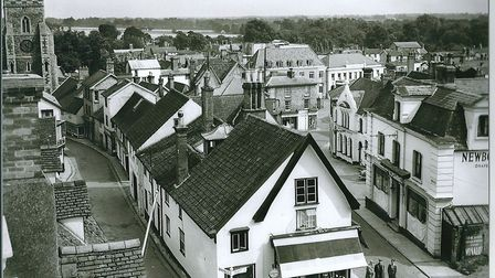 The Diss Heritage Triangle taken from the roof of the Corn Hall in the 1960s. Picture: Archant.