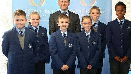 Principal Garry Trott with pupils at Westbourne Academy