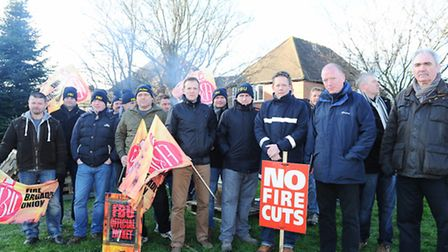 Firefighters from across Essex Strike due to cuts Firefighters at Colchester Station