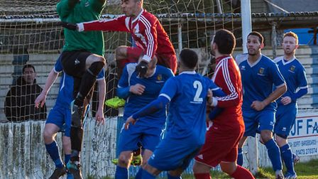 Action in the Wanderers goalmouth