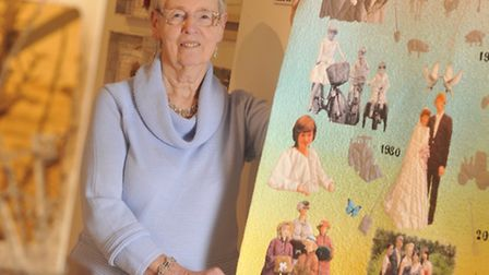 Lorna Rand with her textile piece. 'I still think of all those brave young men, doing what they thou