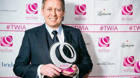 """Robert Neill of The Groom�s Room with the """"Best Wedding Menswear Supplier"""" trophy at the Wedding In"""