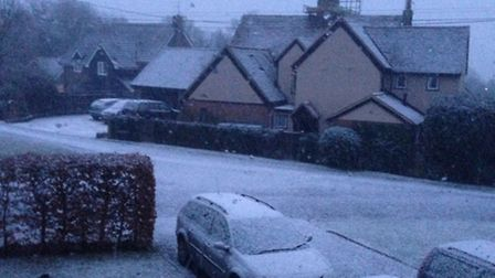 Morning snowfall in Wickham Bishops today - by Anastasia Mead