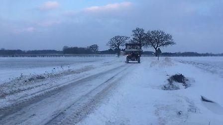The A140 being cleared at the Pulham roundabout on March 2. Picture: Clayton Hudson