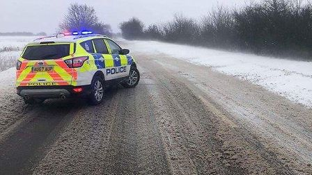 A140 closed because of the weather. PIC: Norfolk Police Twitter.