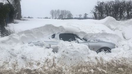 The effect of the drifting snow in Pulham Market. Picture: Clayton Hudson