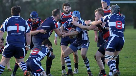 Sudbury, in blue and white, are top of the league