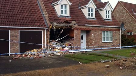 The damage to the house in London Road, Brandon
