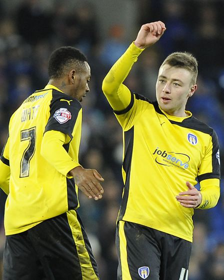 Freddie Sears salutes the U's fans after scoring for Colchester during the second half of the FA Cup