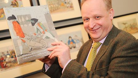 Satirical cartoons at Gainsborough House. Pictured is curator Mark Bills