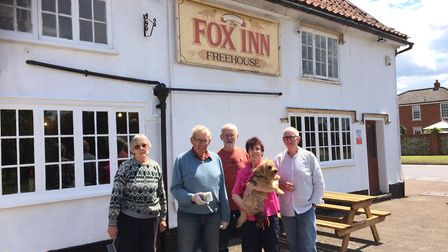 The Fox Inn, Garboldisham. Pictured from left to right; Sylvia Apps, Rodney Hinton, Peter Smith, dir