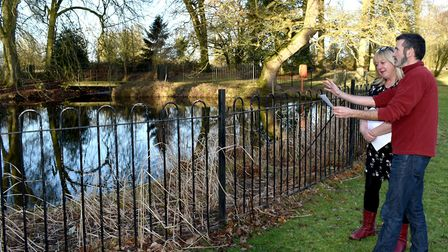 Maxine Smith and Tim Page by the pond at Depperhaugh Care home. Picture: Kingsley Health Care